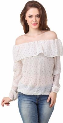 BrandMeUp Casual, Party, Formal, Beach Wear, Festive, Lounge Wear Full Sleeve Floral Print Women's White Top