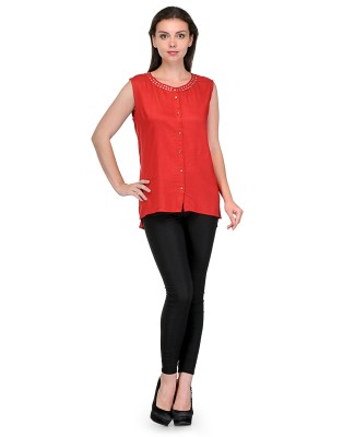 Royal Casual Sleeveless Solid Girl's Red Top