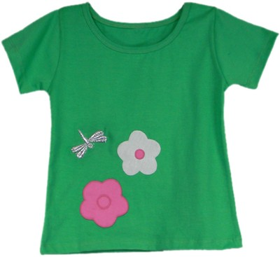 SSMITN Casual Short Sleeve Solid Girls Green Top