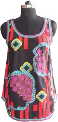 Beautiful Clothes Casual Sleeveless Printed Women's Black Top
