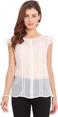 Paprika Casual Short Sleeve Solid Women,s White Top