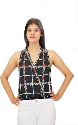Virago Casual Sleeveless Printed Women's Black Top