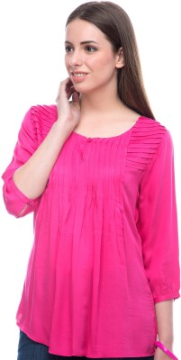 Virsa Casual 3/4 Sleeve Solid Women,s Pink Top