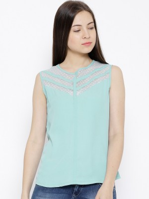 Citrine Casual Sleeveless Solid Women's Green Top
