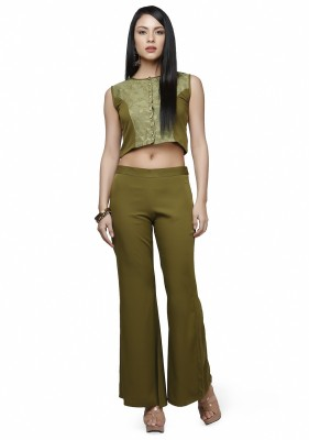 Abhishti Festive Sleeveless Self Design Women's Green Top
