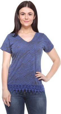 MOD PLUSS Casual 3/4 Sleeve Printed Women's Blue Top