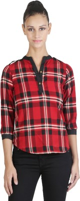 JAPPSHOP Casual 3/4 Sleeve Checkered Women's Multicolor Top