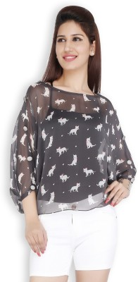 Free Spirited Casual 3/4 Sleeve Printed Women's Grey Top