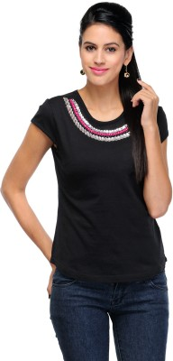 Gloria Casual Short Sleeve Solid Women's Black Top at flipkart