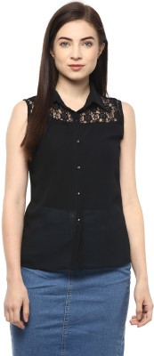 Moderno Casual Sleeveless Solid Women's Black Top