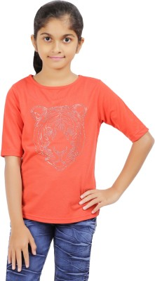Ventra Casual Roll-up Sleeve Solid Girl's Orange Top