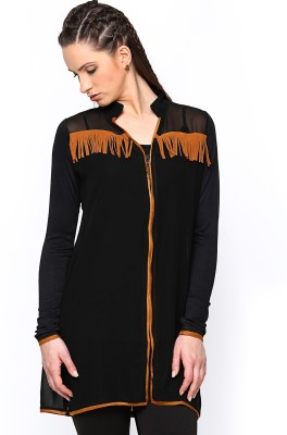 Paschime Casual Full Sleeve Solid Women's Black Top