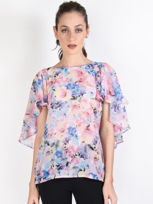 Oshea Casual Butterfly Sleeve Floral Print Women,s Multicolor Top