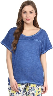 Rose Vanessa Casual Short Sleeve Solid Women's Blue Top