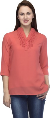 Primo Knot Casual 3/4 Sleeve Solid Women's Pink Top