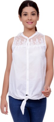 Lamora Casual Sleeveless Embroidered Women's White Top