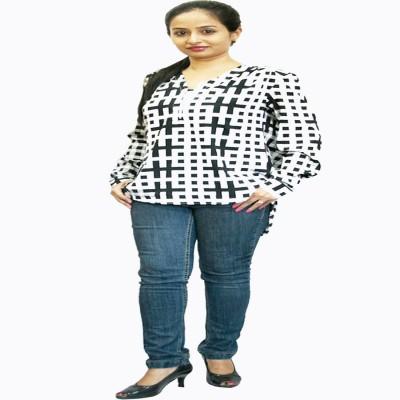 Yosoko Casual Full Sleeve Checkered Women's White, Black Top