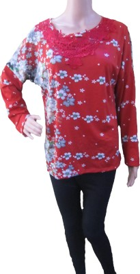 AARADHYA BOUTIQUE Casual Full Sleeve Printed Women,s Red Top