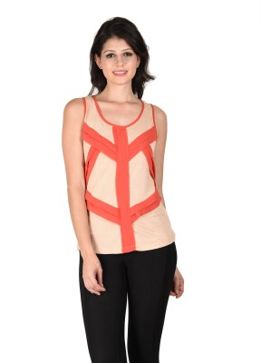 Latin Quarters Casual Sleeveless Solid Women,s Beige Top