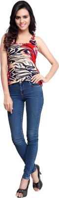 Urban Fashion Bank Casual Sleeveless Printed Women's Red Top at flipkart