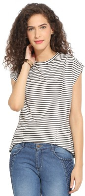 Northern Lights Casual Short Sleeve Striped Women's Black, White Top