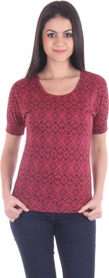 SS Casual Short Sleeve Printed Women's Maroon Top