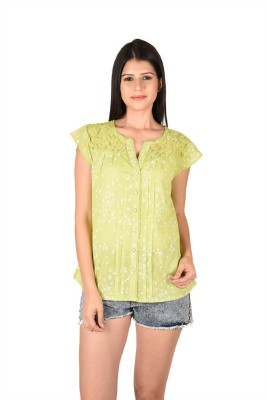 French Creations Casual Sleeveless Printed Women's Green Top