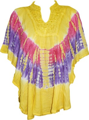 Indiatrendzs Casual Kimono Sleeve Embroidered Women's Yellow Top