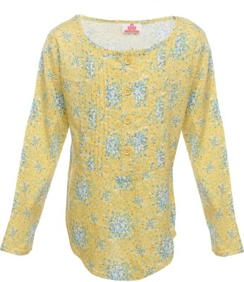 UFO Casual Full Sleeve Printed Girl's Yellow Top