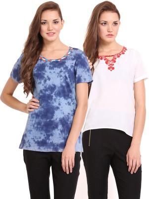 Femenino Casual Short Sleeve Solid Women's Blue, Beige Top