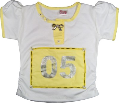 Retaaz Casual, Festive, Party Puff Sleeve Solid Girl's White, Yellow Top