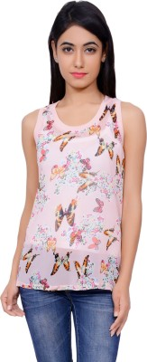 Lamora Casual Sleeveless Floral Print Women's Pink Top
