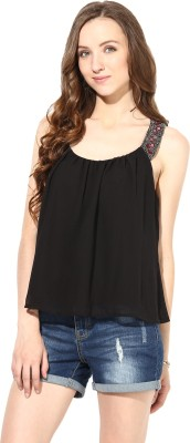 Rose Vanessa Party Sleeveless Embellished Women's Black Top
