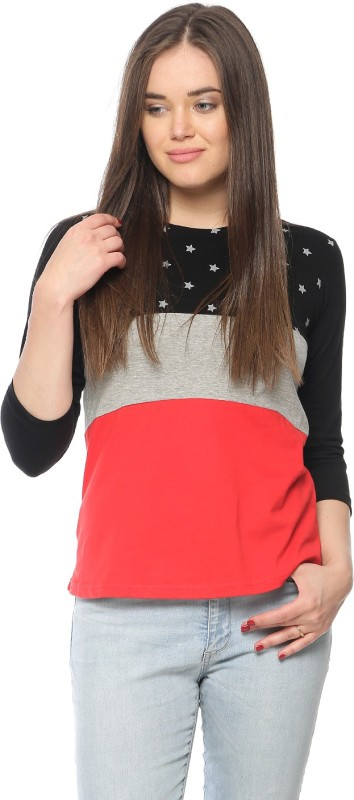 Vvoguish Casual 3/4th Sleeve Printed Women's Multicolor Top