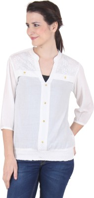 SS Casual 3/4 Sleeve Solid Women's White Top