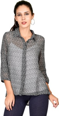 Curvy Q Casual Roll-up Sleeve Printed Women's Black Top