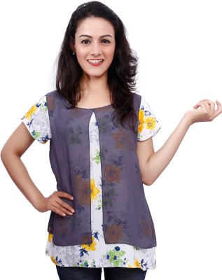 Fine Colors Casual Short Sleeve Floral Print Women's Grey Top