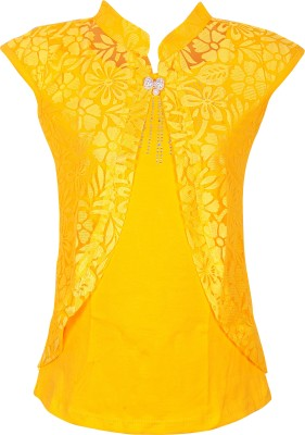 Gee & Bee Casual Cape Sleeve Embroidered Girl's Yellow Top