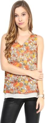 La Zoire Casual Sleeveless Printed, Floral Print Women's Multicolor Top