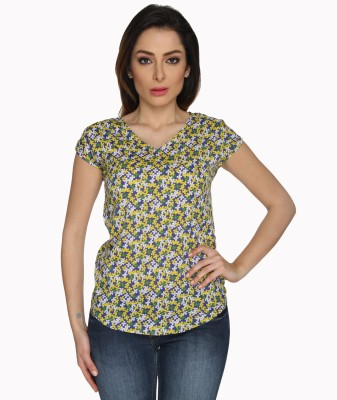 Miss Rich Casual Short Sleeve Floral Print Women's Yellow Top