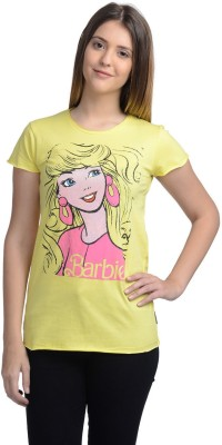 Barbie Casual Short Sleeve Printed Women's Yellow Top