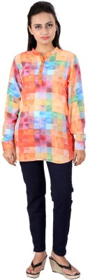 Go4it Casual, Party Full Sleeve Printed, Solid Women,s Orange, Blue Top