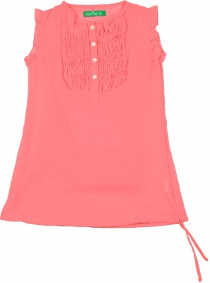 Palm Tree Casual Sleeveless Solid Girl's Pink Top