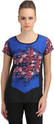 Ozel Casual Short Sleeve Printed Women's Blue Top