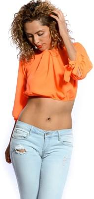 Danzon Casual, Beach Wear 3/4 Sleeve Solid Women's Orange Top