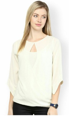 BC International Casual 3/4 Sleeve Solid Women's White Top
