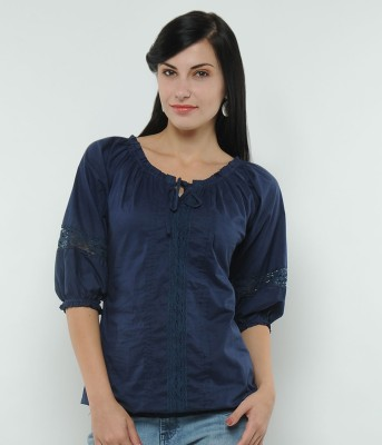 U&F Casual 3/4 Sleeve Solid Women's Blue Top