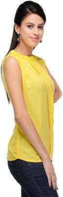 Shree Krishna Enterprise Party Sleeveless Solid Girl's Yellow Top