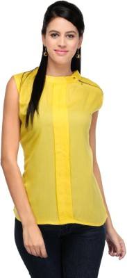 Dolla Casual, Festive, Formal, Lounge Wear, Party, Sports, Wedding Sleeveless Solid Women's Yellow Top