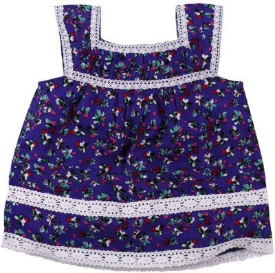 Babyoye Casual Sleeveless Printed Girl's Blue Top